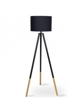 Μεταλλικό φωτιστικό δαπέδου PWL-0004 pakoworld E27 ξύλινα πόδια-μαύρο καπέλο Φ41x155εκ 009-000036