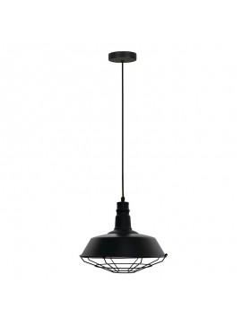Κρεμαστό μεταλλικό φωτιστικό οροφής PWL-0017 pakoworld μαύρο ματ χρώμα Φ37x30εκ 009-000054