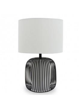 Επιτραπέζιο μεταλλικό φωτιστικό PWL-0030 pakoworld Ε27 μαύρο με λευκό καπέλο Φ33x51εκ 009-000072