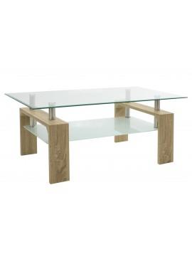 Τραπέζι σαλονιού Maiha pakoworld γυαλί χρώμα ποδιών sonoma 100x60x42,5εκ 011-000029