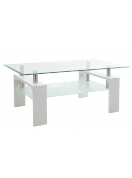 Τραπέζι σαλονιού Maiha pakoworld γυαλί χρώμα ποδιών λευκό 100x60x42,5εκ 011-000031