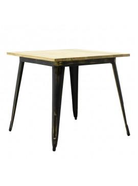 Τραπέζι μεταλλικό Utopia pakoworld ξύλινη επιφάνεια χρώμα anti-black 80x80x75,5 019-000049