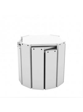 Τραπέζια ζιγκόν HANSEL pakoworld σε χρώμα λευκό 44,5x44,5x41εκ 027-000002