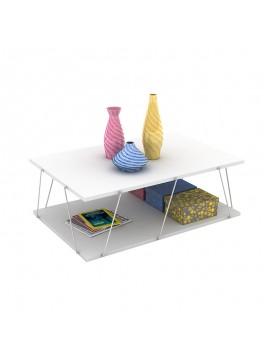 Τραπέζι σαλονιού TARS pakoworld χρώμα λευκό λεπτομέρειες χρωμίου 90x60x30,5εκ 027-000007