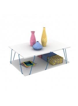 Τραπέζι σαλονιού TARS pakoworld χρώμα λευκό με μπλε λεπτομέρειες 90x60x30,5εκ 027-000009