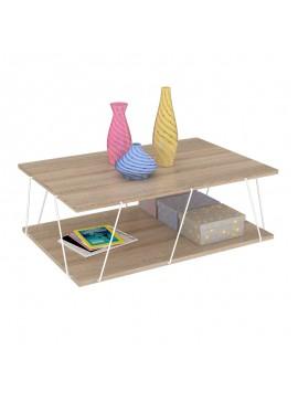 Τραπέζι σαλονιού TARS pakoworld χρώμα sonoma-λεπτομέρειες σε λευκό 90x60x30,5εκ 027-000042