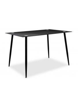 Τραπέζι Vincenzo pakoworld ορθογώνιο με γυάλινη επιφάνεια μαύρο 120x80x75εκ 029-000027