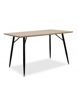 Τραπέζι Sol pakoworld με επιφάνεια MDF χρώμα sonoma-πόδι μεταλλικό μαύρο 130x80x75,5εκ 029-000029