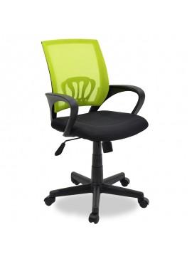 Καρέκλα γραφείου εργασίας Berto pakoworld με ύφασμα mesh χρώμα μαύρο-πράσινο 034-000003