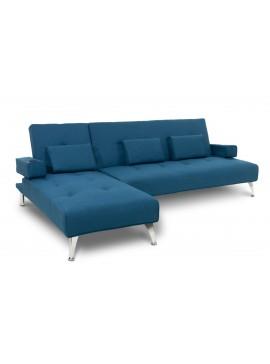 Γωνιακός καναπές κρεβάτι Luxury pakoworld σε μπλε ύφασμα 258x156x84εκ 035-000009