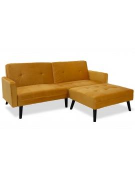 Γωνιακός καναπές-κρεβάτι με σκαμπό Dream pakoworld  κίτρινο βελούδο 209x87-195x80εκ 035-000018