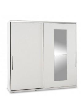 Ντουλάπα ρούχων Slide pakoworld δίφυλλη με συρόμενες πόρτες χρώμα λευκό 210x60x207εκ 039-000079