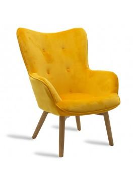 Πολυθρόνα Kido pakoworld υφασμάτινη βελούδο χρώμα κίτρινο 046-000003