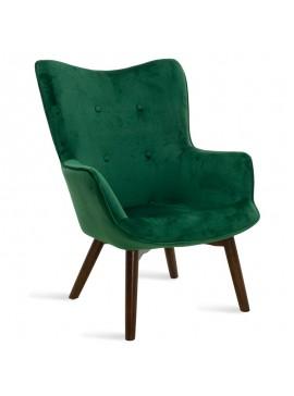 Πολυθρόνα Kido pakoworld υφασμάτινη βελούδο χρώμα σκούρο πράσινο 046-000009