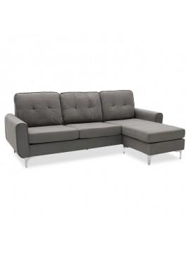 Γωνιακός καναπές Ballon pakoworld αναστρέψιμος υφασμάτινος χρώμα γκρι 218x135x83,5εκ 048-000018