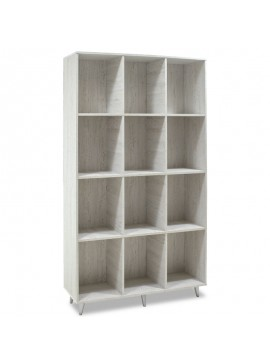 Βιβλιοθήκη FIRENZE pakoworld χρώμα γκρι - λευκό 107x28,6x178εκ 049-000013