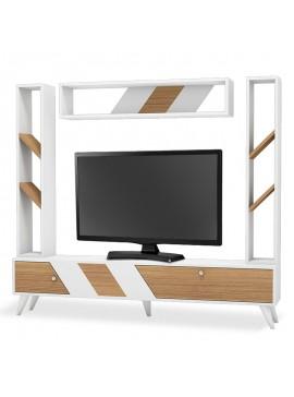Σύνθετο σαλονιού Rile TV pakoworld λευκό-sonoma 180x30x160 055-000026