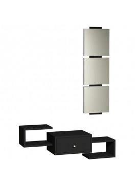 Κονσόλα τοίχου Dorado Coat pakoworld με καθρέφτη μαύρο gloss χρώμα 055-000041