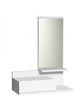 Κονσόλα τοίχου Mode Coat pakoworld με καθρέφτη λευκό χρώμα 60x30x80 055-000043