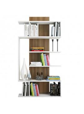 Βιβλιοθήκη Joke pakoworld λευκό-καρυδί 90x22x172 055-000051