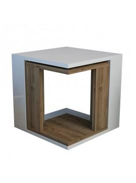 Τραπέζι βοηθητικό σαλονιού Cubic Zigon pakoworld λευκό-καρυδί 40x40x40 055-000060