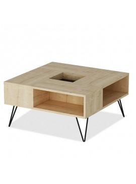 Τραπέζι σαλονιού Lord pakoworld χρώμα φυσικό με μαύρα μεταλλικά πόδια 80x80x40εκ 055-000218
