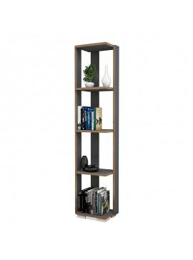 Βιβλιοθήκη - στήλη Negro pakoworld χρώμα ανθρακί - καρυδί 34x26x153εκ 055-000227