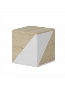 Τραπέζι σαλονιού Primes Zigon pakoworld 2τεμ χρώμα λευκό - φυσικό 45x45x49εκ 055-000253
