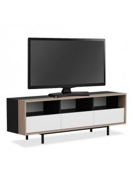Έπιπλο τηλεόρασης Myron tv pakoworld χρώμα μαύρο-καρυδί-λευκό 150x35x51εκ 055-000324