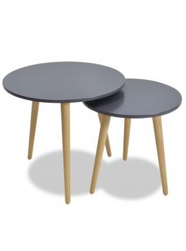 Βοηθητικά τραπέζια σαλονιού SMITH pakoworld σετ 2τμχ χρώμα ανθρακί ματ-φυσικό 058-000002