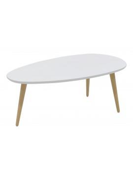 Τραπέζι σαλονιού HAMILTON pakoworld χρώμα λευκό-φυσικό 89x48x33εκ 058-000005