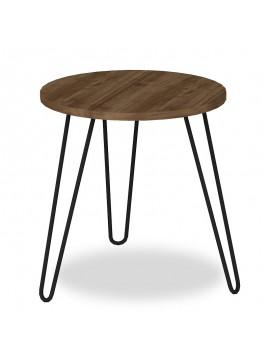 Βοηθητικό τραπέζι σαλονιού PWF-0007 pakoworld καρυδί μεταλλικά μαύρα πόδια Φ44x47εκ 071-000032
