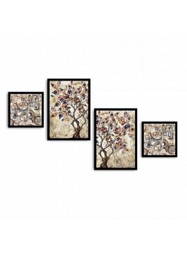 Πίνακας σε mdf PWF-0217 pakoworld με ξύλινο πλαίσιο-ψηφιακή εκτύπωση 4πτυχο 071-000545