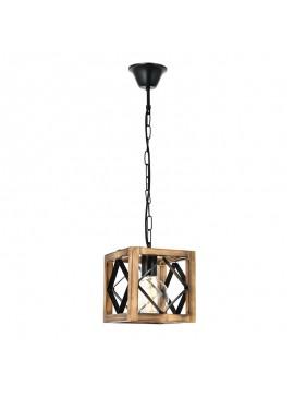 Φωτιστικό οροφής PWL-0026 pakoworld χρώμα καρυδί-μαύρο 23x23x70εκ 071-000600