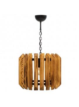 Φωτιστικό οροφής PWL-0027 pakoworld χρώμα καρυδί-μαύρο Φ30x70εκ 071-000601