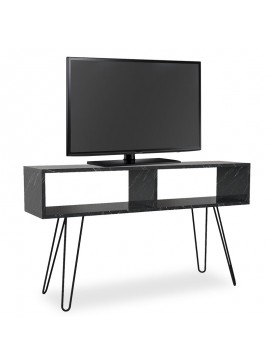 Έπιπλο τηλεόρασης PWF-0249 pakoworld μαύρο μάρμαρο-μεταλλικά μαύρα πόδια 120x29,5x68εκ 071-000619