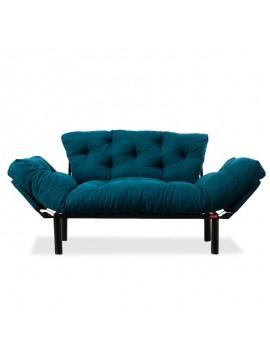 Καναπές κρεβάτι PWF-0018 pakoworld 2θέσιος με ύφασμα χρώμα πετρόλ 155x73x85cm 071-000663