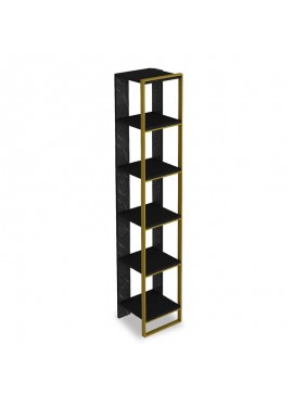 Βιβλιοθήκη PWF-0298 pakoworld χρώμα μαύρο μαρμάρου-χρυσό 32x31,5x178,5εκ 071-000856