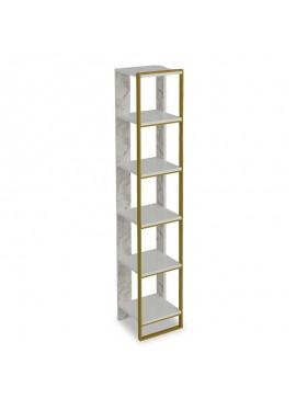 Βιβλιοθήκη PWF-0298 pakoworld χρώμα λευκό μαρμάρου-χρυσό 32x31,5x178,5εκ 071-000857