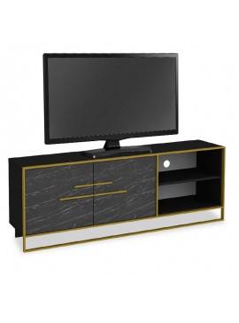 Έπιπλο τηλεόρασης PWF-0298 pakoworld χρώμα μαύρο μαρμάρου-χρυσό 160x38,5x56,5εκ 071-000863