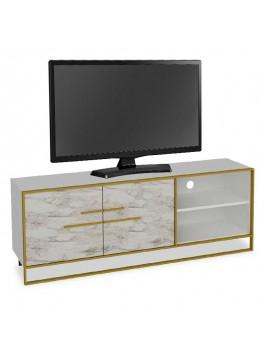 Έπιπλο τηλεόρασης PWF-0298 pakoworld χρώμα λευκό μαρμάρου-χρυσό 160x38,5x56,5εκ 071-000864