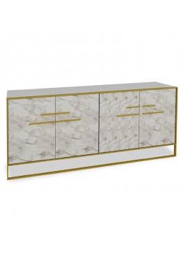 Μπουφές PWF-0298 pakoworld χρώμα λευκό μαρμάρου-χρυσό 180x47,5x75εκ 071-000866