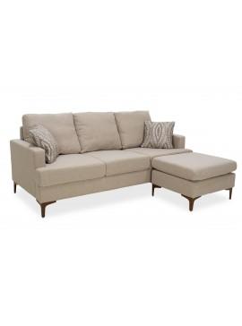 Γωνιακός καναπές με σκαμπό Slim pakoworld υφασμάτινος χρώμα μπεζ με μαξιλάρια 185x140x70εκ 074-000001