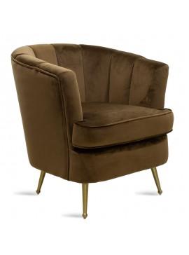 Πολυθρόνα Olson pakoworld με ύφασμα βελούδο χρώμα σκούρο καφέ 75x76x78εκ 080-000015