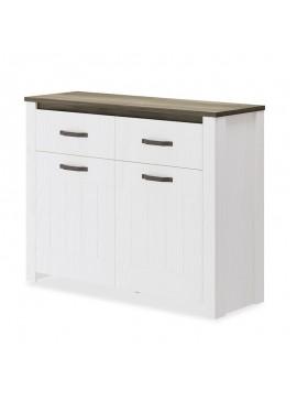 Μπουφές Alpin pakoworld χρώμα λευκό - καρυδί 114x40x90εκ 081-000030