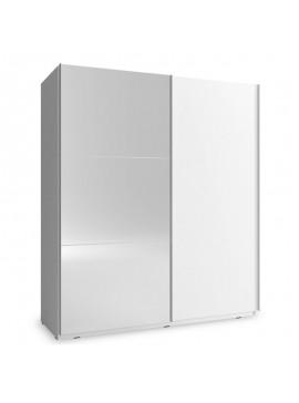 Ντουλάπα ρούχων Mika pakoworld 2φυλλη με συρόμενες πόρτες χρώμα λευκό 200x63x214εκ 081-000051