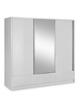 Ντουλάπα ρούχων Aria pakoworld τρίφυλλη με συρόμενες πόρτες χρώμα λευκό 250x62x214εκ 081-000056