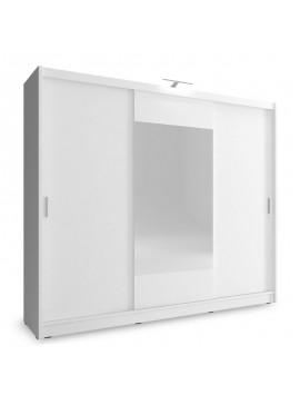 Ντουλάπα ρούχων Wiki pakoworld τρίφυλλη με συρόμενες πόρτες χρώμα λευκό 250x62x214εκ 081-000057