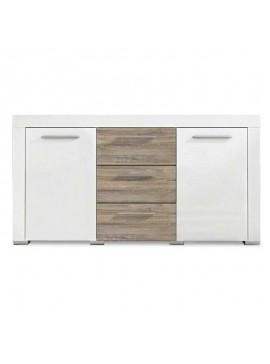 Μπουφές Avio pakoworld με 3 συρτάρια χρώμα gloss λευκό - καφέ 160x40x85εκ 082-000004