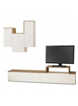 Σύνθετο σαλονιού TIRTIL TV pakoworld σε χρώμα λευκό - φυσικό 180x36x42εκ 119-000693